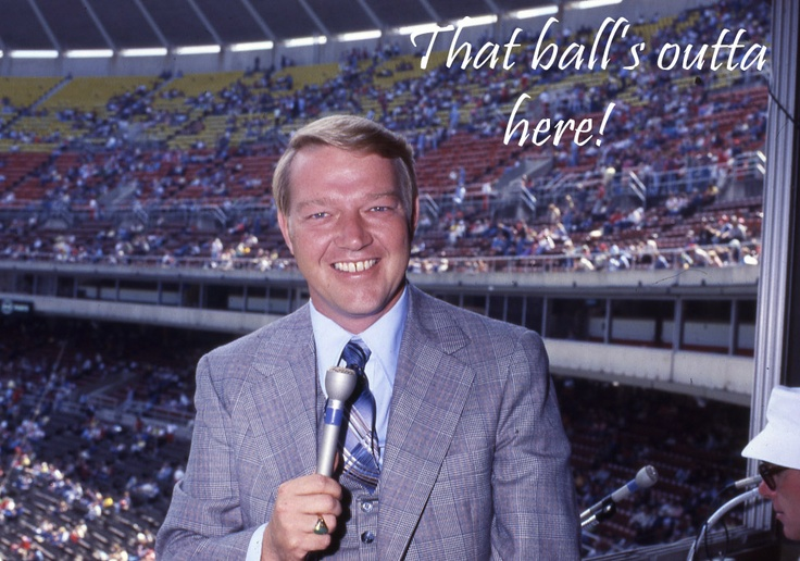A young Harry Kalas gets ready to call a Phillies game at Veterans Stadium.