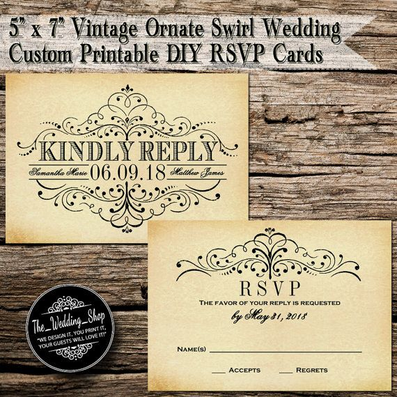 "3.5"" x 5"" Vintage Ornate Swirl Custom Printable DIY Wedding RSVP Cards"