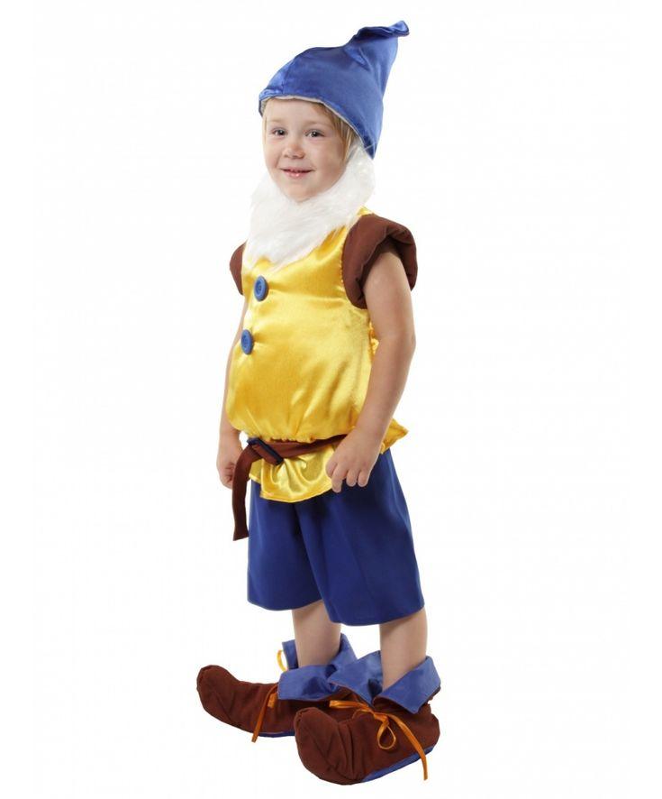 Детский+костюм+гнома+(желтый,+синий):+жилет,+колпак,+пояс,+накладки+на+обувь,+шорты,+борода+(Россия)