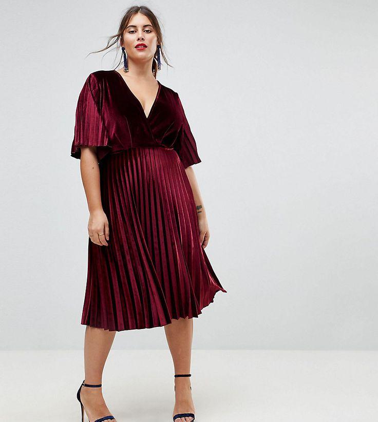 Plus-Size Pleated Velvet Kimono Midi Dress (plus size) | Plus Size Formal Dress Guide