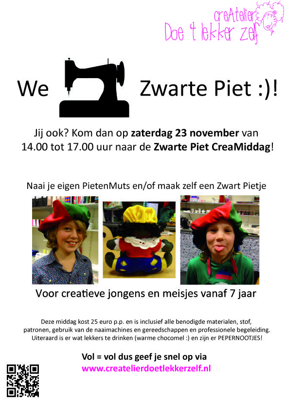 Op zaterdag 23 november is er van 14.00 tot 17.00 uur een Creatieve Zwarte Piet middag voor Kids in 't CreAtelier. Jij doet toch ook mee?!