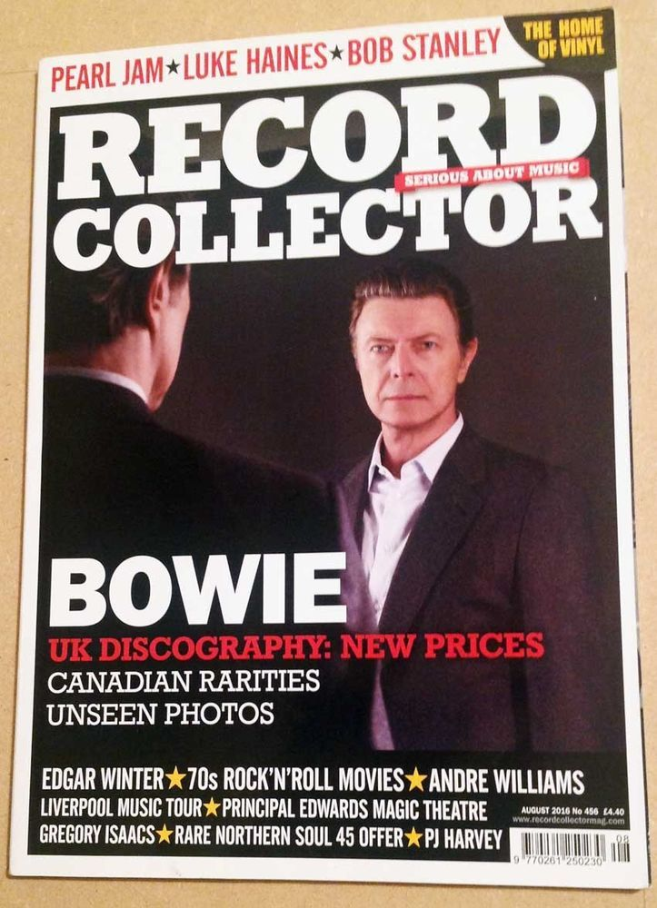 BOWIE Record Collector 456 AUG 2016 Pearl Jam Edgar Winter 70s Rock PJ Harvey