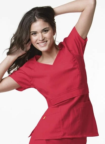6314A Wonderwink Raglan Sleeve Mock Wrap Top in poppy red. A great choice for any nurse or other medical professional.