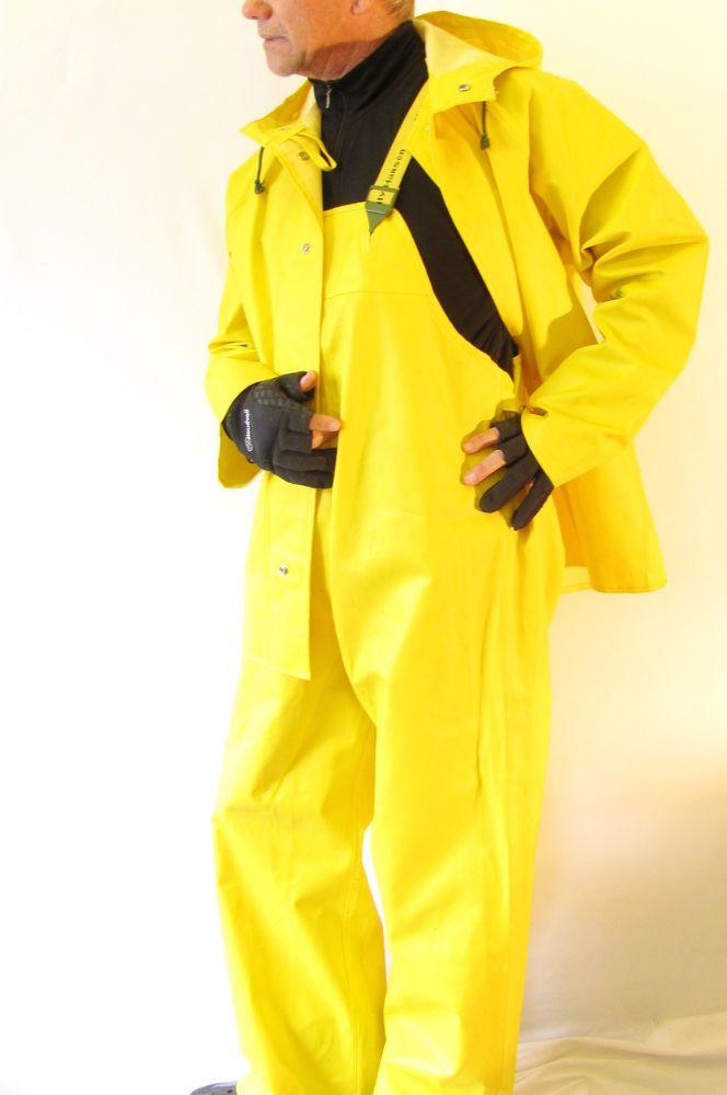 Helly hansen p300 fishing rain jacket yellow mens medium for Fishing rain suits