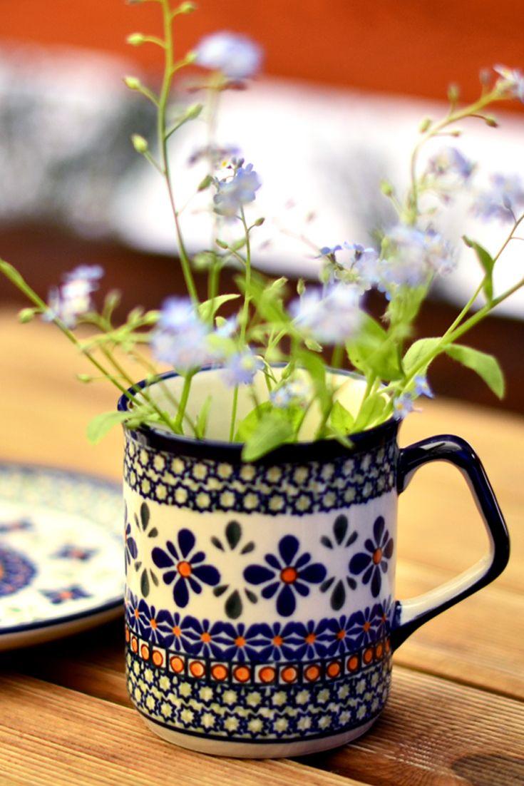 Ceramic mug made in Ceramics Factory from Boleslawiec.