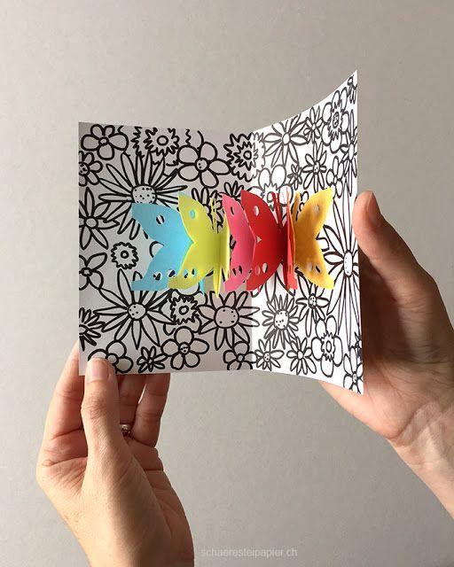 Pop-Up-Karte, Scherenschnitt, Papierkette; tutorial, silhouette papercut, pop…