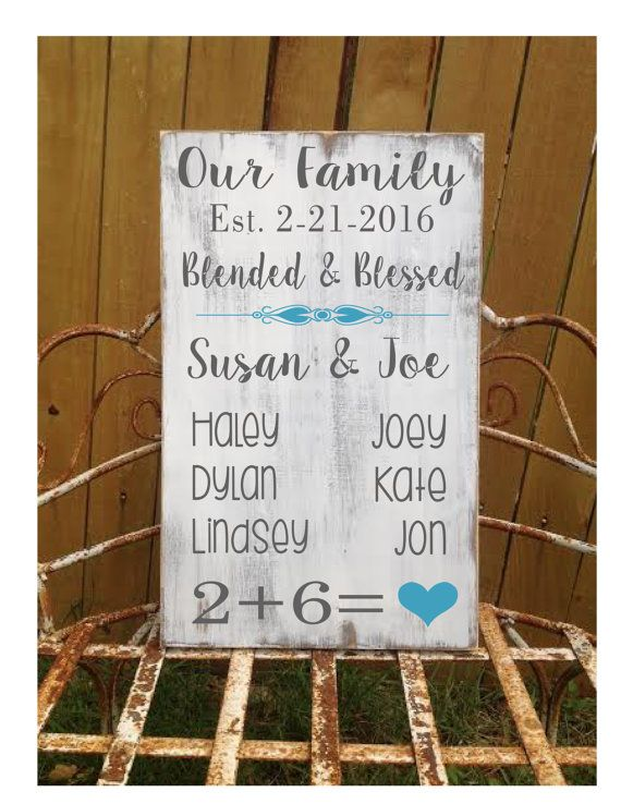 Blended Family Gift  Second marriage sign  by CastleInnDesigns