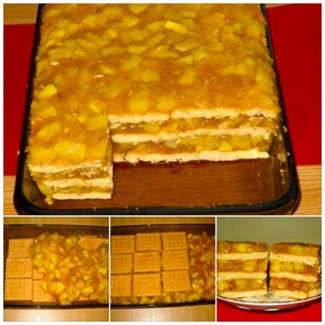 Ingrediente: – 1,8-2 kg mere – 350 g biscuiti populari (40 bucati) – 350 g zahar – 4 plicuri budinca de vanilie – 650 ml apa – 150 g stafide – o sticluta esenta de rom – 1/2 lingurita scortisoara – un praf