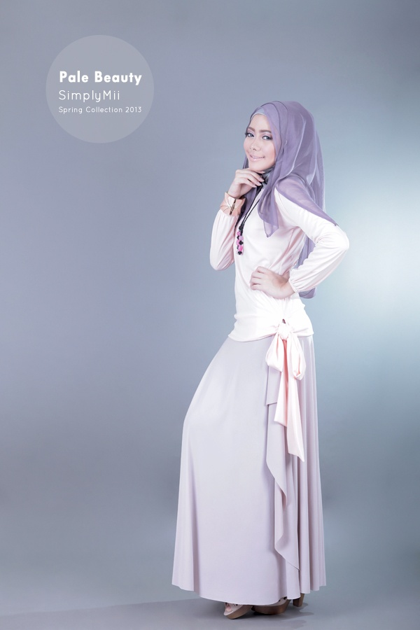 #SimplyMii #Sabrina Pitta Top - Pale Peach- Korean Jersey - IDR 195.000  Sabrina Drape Skirt - Pale Dusty Purple - Korean Jersey - IDR 225.000