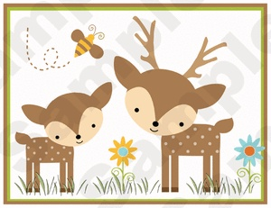 WOODLAND FOREST ANIMALS DEER OWL BEE BABY NURSERY WALL BORDER STICKERS DECALS
