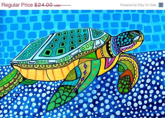Sea Turtle Poster by HeatherGallerArt