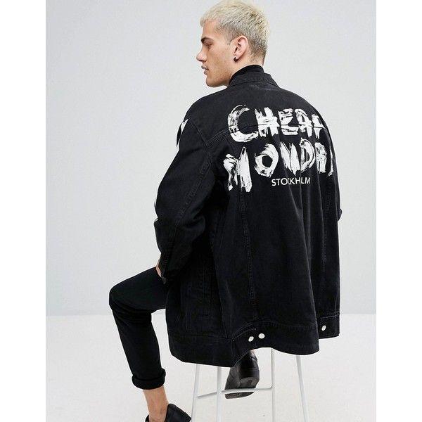 Cheap Monday Mega Graffiti Denim Jacket (€135) ❤ liked on Polyvore featuring men's fashion, men's clothing, men's outerwear, men's jackets, black, mens denim jacket, mens longline bomber jacket and mens checkered jacket