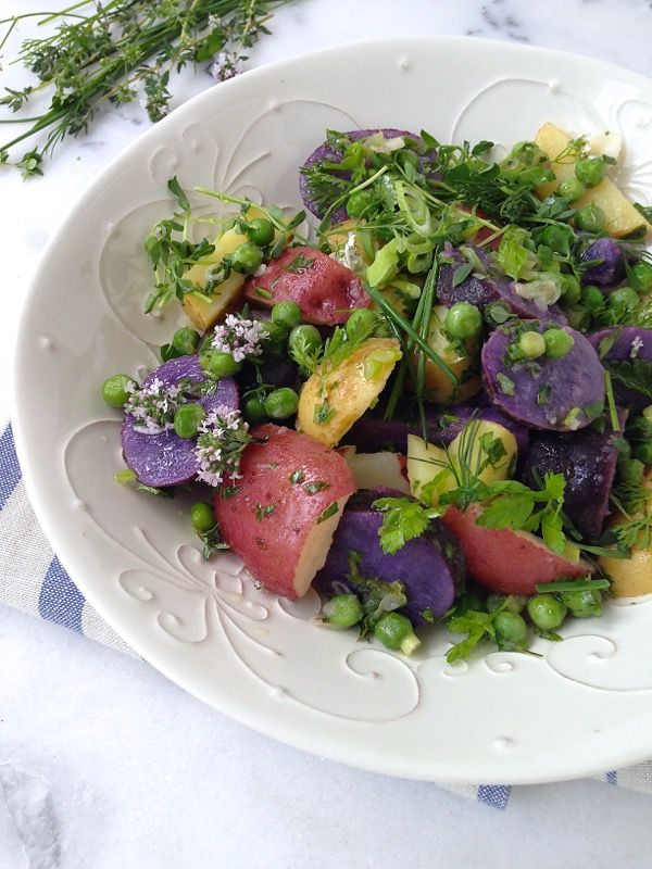 Healthy Potato Salad Recipe , Italian style heirloom potato salad with green peas and herbs, in a smooth olive oil lemon dressing.
