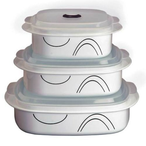 Corelle Coordinates Simple Lines 6-Piece Microwave Cookware Set, New Tupperware #Corelle