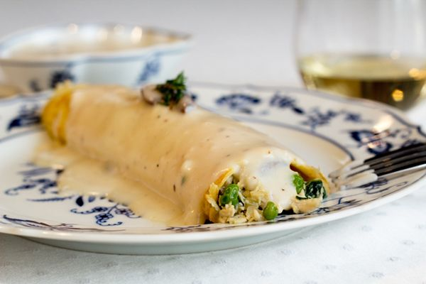 savory herbed chicken crepes with mushroom sauce