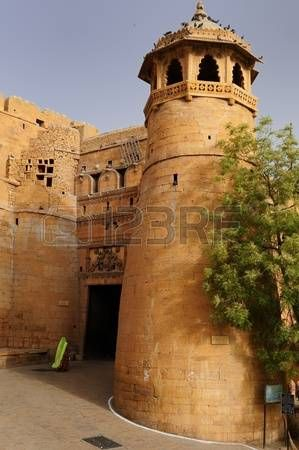 Beautifolu Fort in Jaisalmer city in India. Main gate, Rajasthan photo