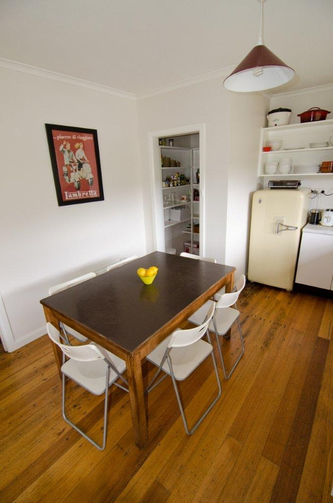 The open plan kitchen - walk-in pantry, vintage 1950s Kelvinator and table to seat 6.