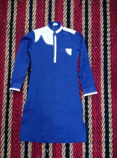 Front view of white patch kurta in royal blue jute cloth by genius mens wear