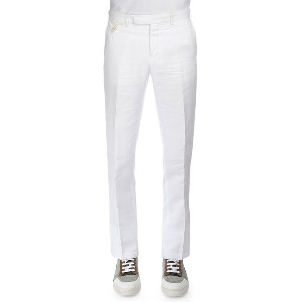 Berluti Linen-Blend Flat-Front Trousers ($850) ❤ liked on Polyvore featuring men's fashion, men's clothing, men's pants, men's dress pants, white, mens flat front pants, mens slim fit dress pants, mens slim dress pants, mens white dress pants and mens white pants