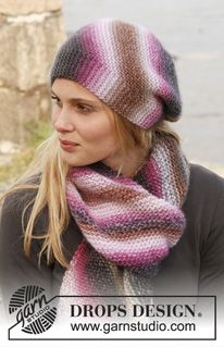 Set consists of: Knitted DROPS hat and scarf in garter st - Drops Big Delight