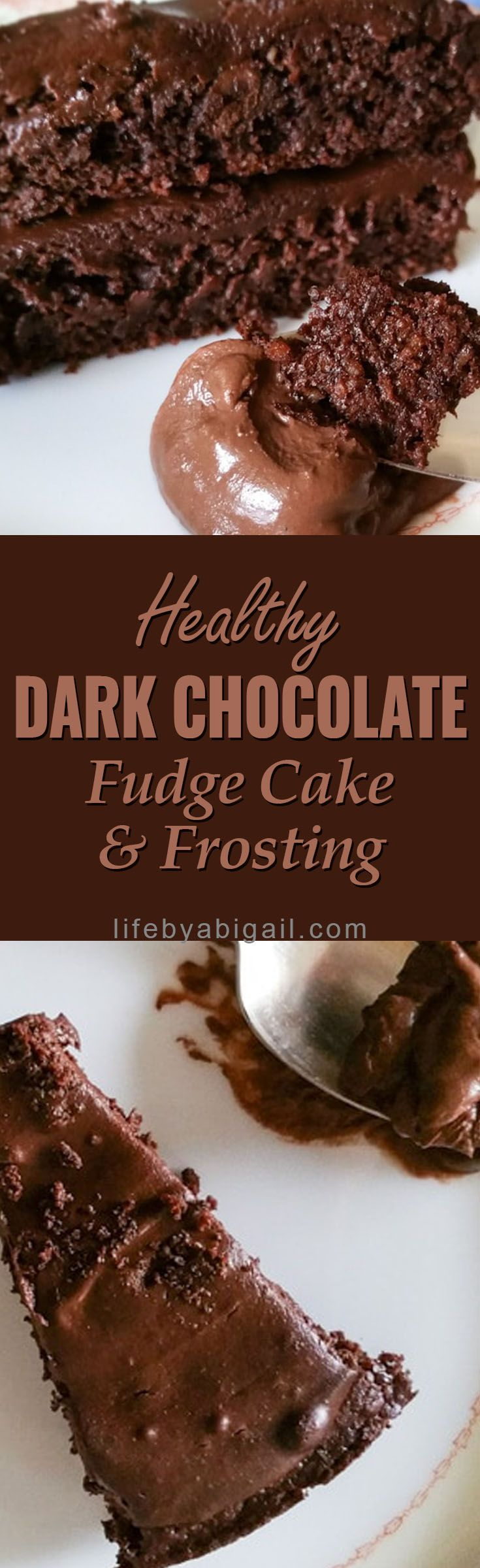 Healthy dark chocolate cake & fudge frosting! You'll never know that this treat is processed sugar free, wheat free, and dairy free! :-D This decadent cake and frosting recipe is a fabulous dessert option during holidays, birthday parties, and special occasions.