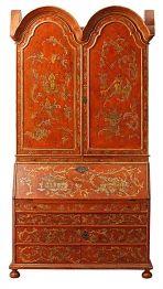 "Escritorio-librería en madera lacada en rojo con ""chinoiseries"" doradas"