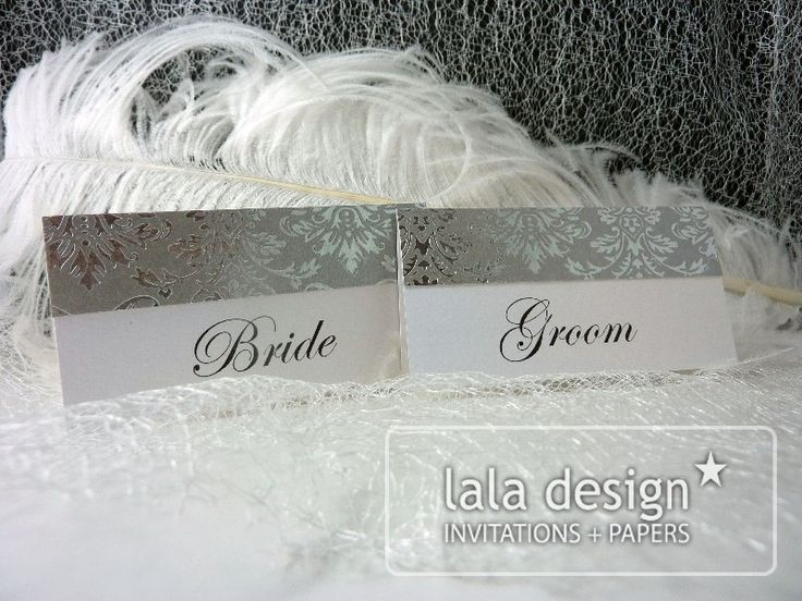 Silver embossing bride and groom place cards
