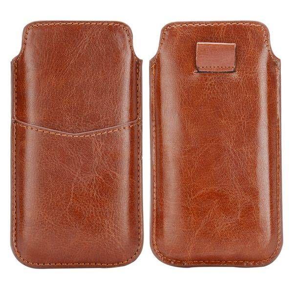 Bruin insteekhoesje met pasjeshouder voor iPhone 5 / 5S