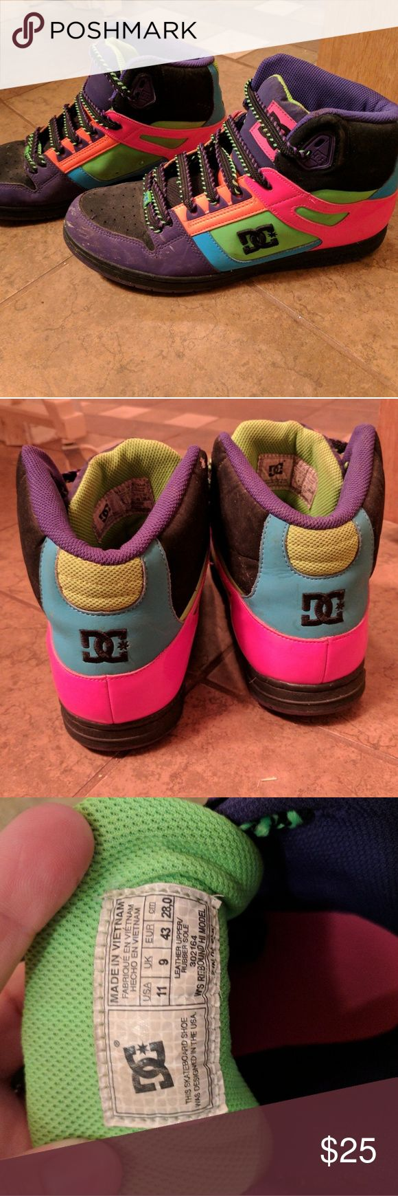 DC shoes Colorful DC shoes. Just need cleaned cause they have been in the closet too long. Size 11 Shoes Sneakers