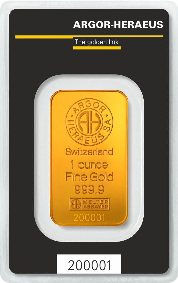 1 Oz 9999 Fine Argor Heraeus Gold Bar In Assay Card Goldbars Gold Goldstocks Oro 1 Oz Monedas