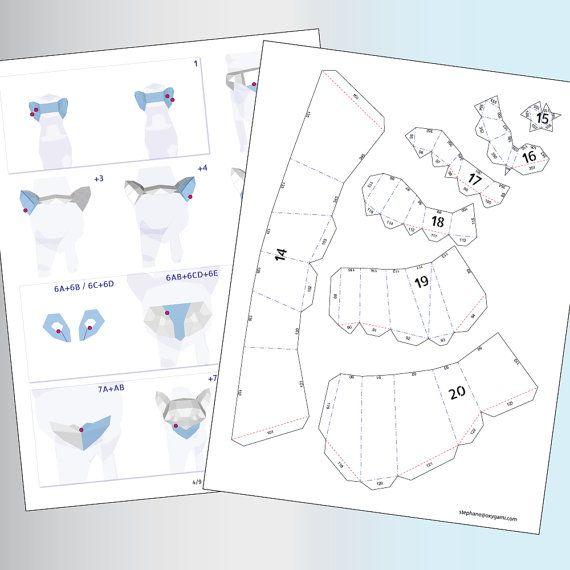 Gatos de papercraft par de gatos 2 patrones PDF por OXYGAMI en Etsy