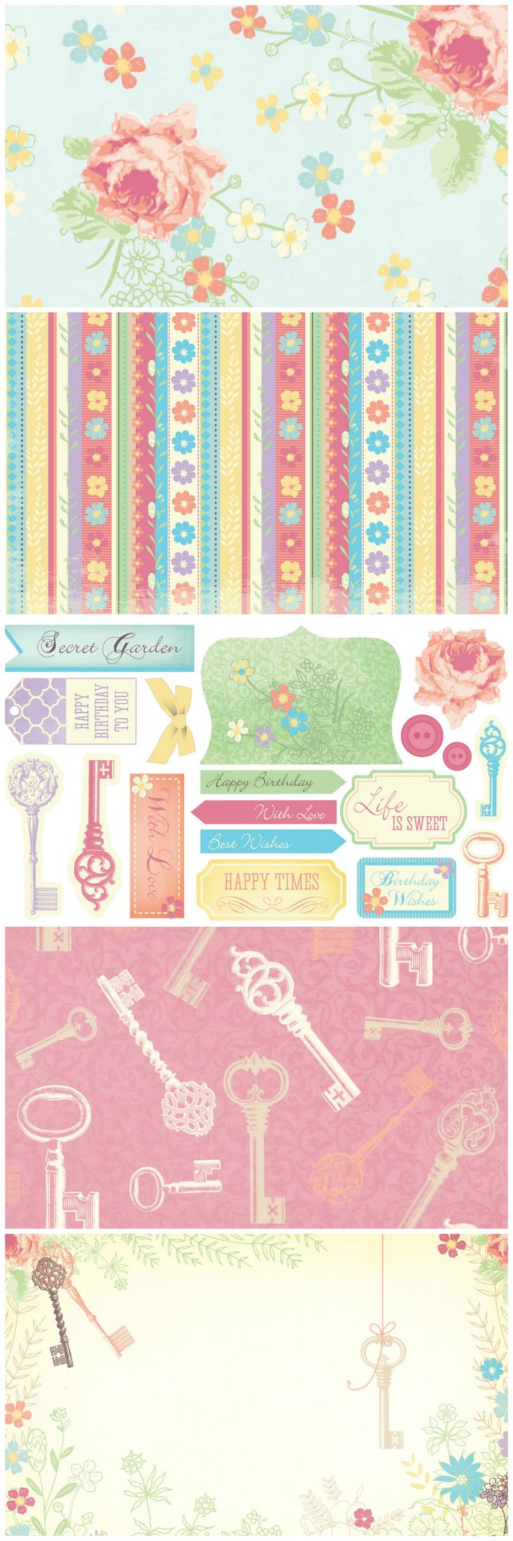Scrapbook ideas printable - Be Enchanted By Our Free Secret Garden Printable Papers And Card Toppers