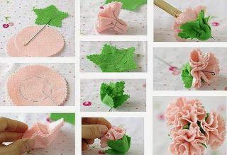 Keçeden Yapraklı Çiçek Yapımı - Resimli Anlatım