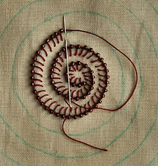Fabric manipulation - Buttonhole stitch with seed beeds - possible idea for wall art - stretch finished embroidery over deep canvas to make beads 'pop'?