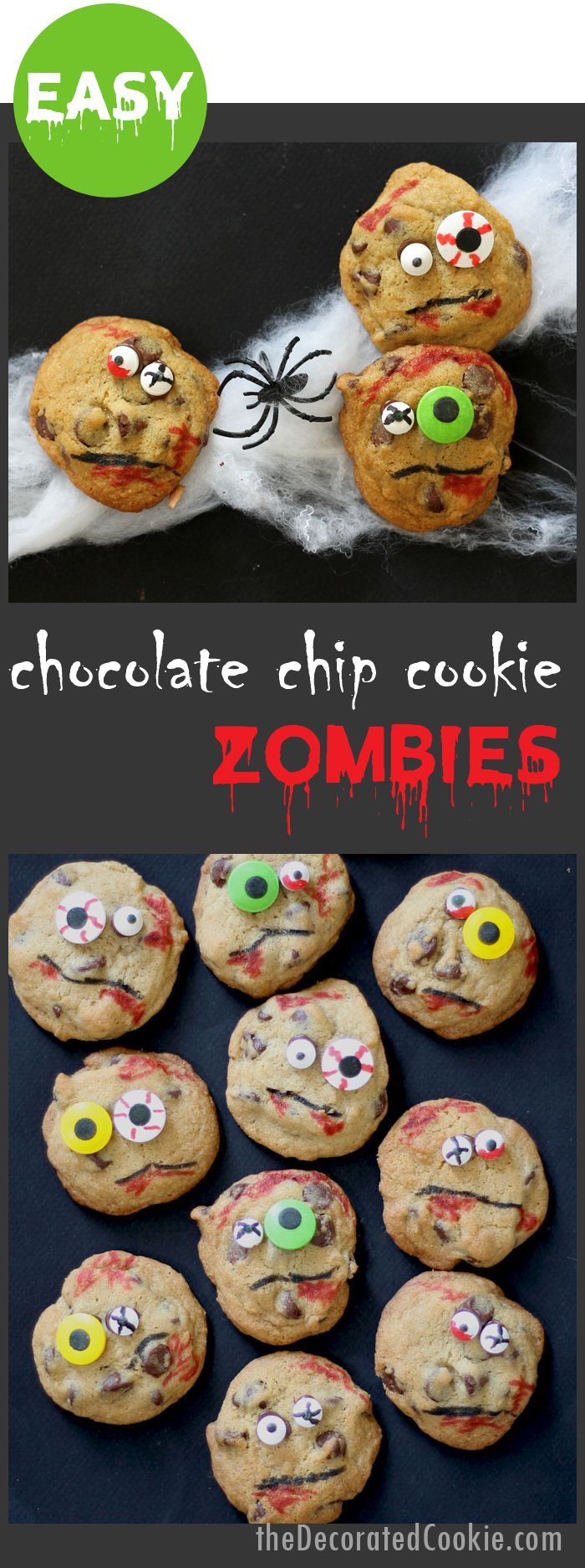 1083 best halloween foods images on pinterest halloween foods zombie chocolate chip cookies easy fun halloween party food forumfinder Images