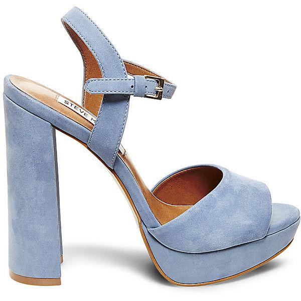 Steve Madden Women's Kierra Platform Sandals ($120) ❤ liked on Polyvore featuring shoes, sandals, light blue, light blue sandals, nubuck leather shoes, high heel shoes, steve madden and platform shoes