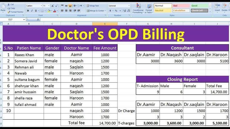 Hospital doctors opd bill format in excel excel