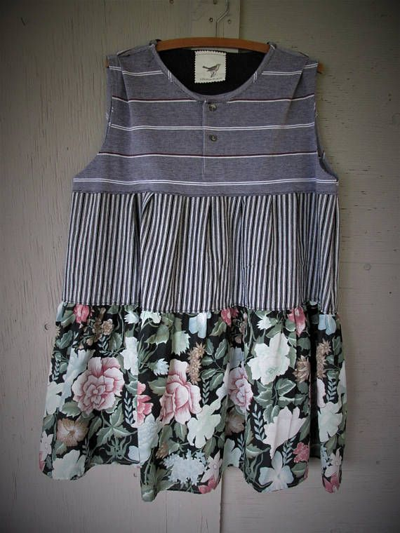 upcycled tunic Loose fit dress Bohemian summer clothing spring
