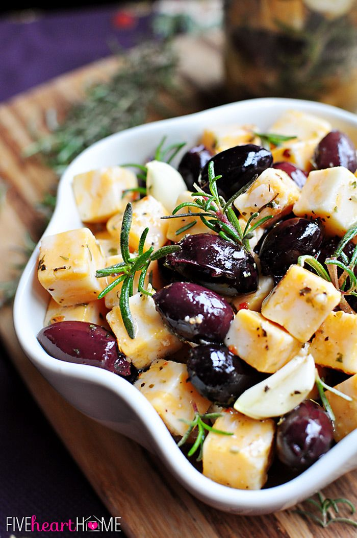 Marinated Cheese and Olives ~ a quick party appetizer or easy food gift in a jar