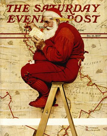 """Santa at the Map"" Saturday Evening Post Cover, December 16,1939.  Precious!"