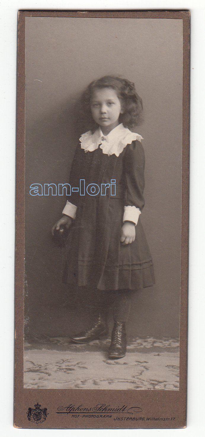 Foto entzückendes kleines Mädchen im Kleid / Insterburg um 1910