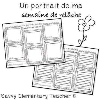Spring Break - Semaine de Relache - March Break - Simple, yet fun activity to do before or after Spring break. *Before Spring break this activity can be used to discuss in future tense what are some activities that can be done on each day of the week of the break. Students can review their days of the week.