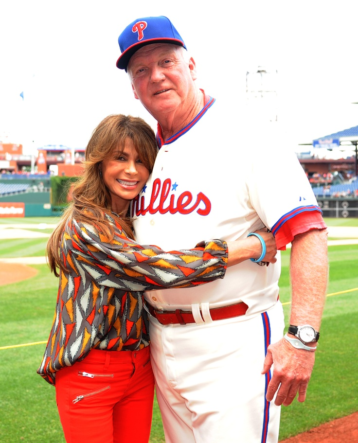 Opposites Attract! Grammy-award winner Paula Abdul with manager Charlie Manuel before the game