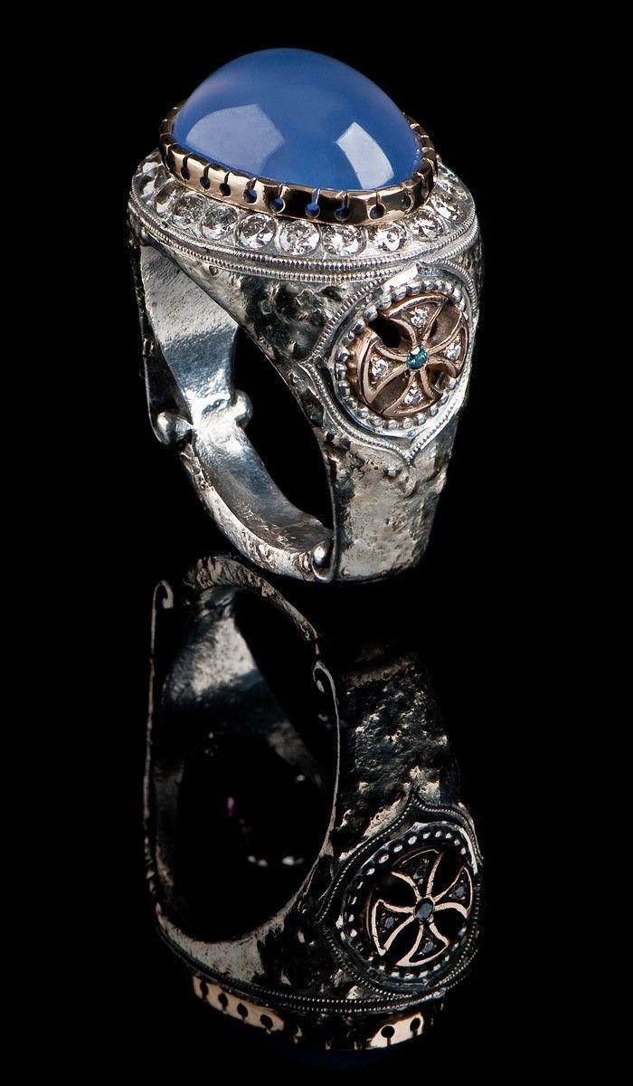 J. Chapa Hernandez | Ellensburg Blue Chalcedony Men's Ring EBR-602 | Bellevue, WA