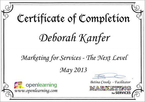Service Marketing - The Next Level course certificate 2013