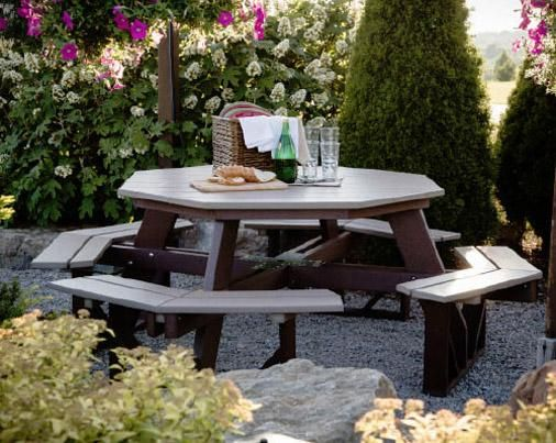 Amish Polywood Octagon Picnic Table Berlin Gardens Collection As the centerpiece to your perfect outdoor get together, our Amish Polywood Octagon Picnic Table will offer ample room to enjoy grea