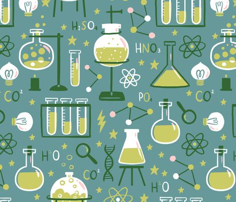 science-themed fabric