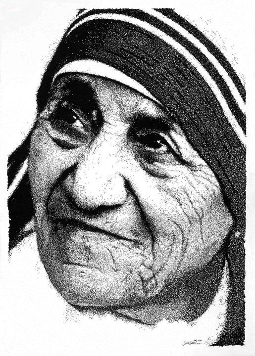 """""""Madre Teresa di Calcutta"""" - 10.2010 China gel su carta - dim.40x60 cm #art #b&w #portrait"""