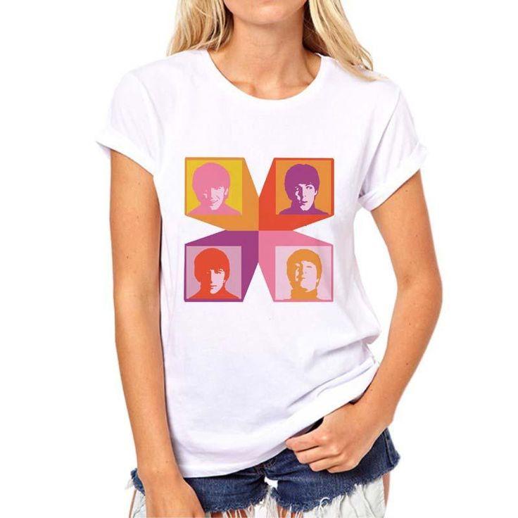 buy popular 6dd7b bea96 zoom t shirt beatles femme