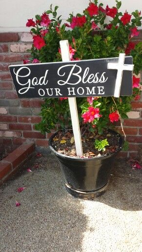 God bless our home in black- garden sign/ Designs by Vena - hand painted wooden signs www.facebook.com / DesignsbyVena